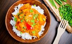 Crevettes au curry et coco