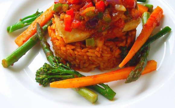 Riz et petits légumes au safran