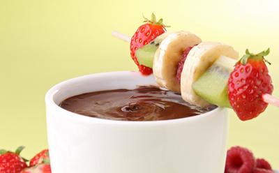 Fondue de fruits au chocolat