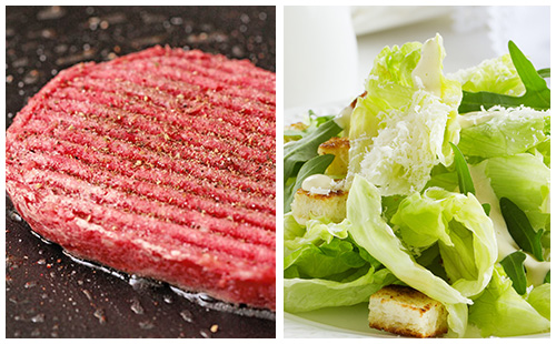 Steak haché et salade gourmande
