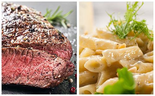 Steak de boeuf et pâtes au roquefort