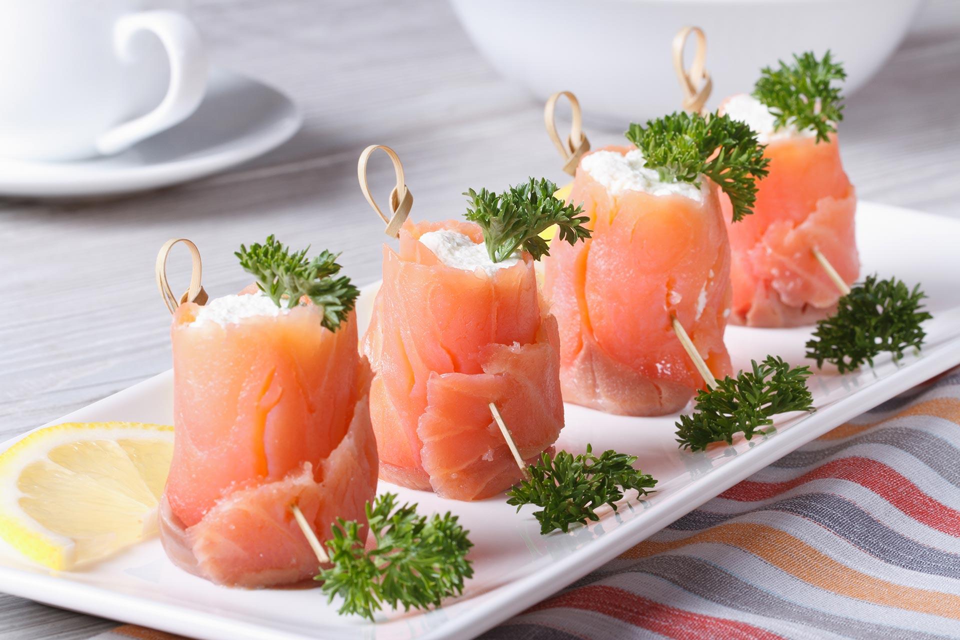 Ballottine de saumon fumé au cabillaud