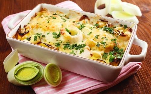 Gratin de pommes de terre et poireaux