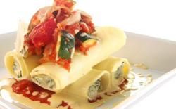Cannelloni aux courgettes, basilic et fromage de chèvre