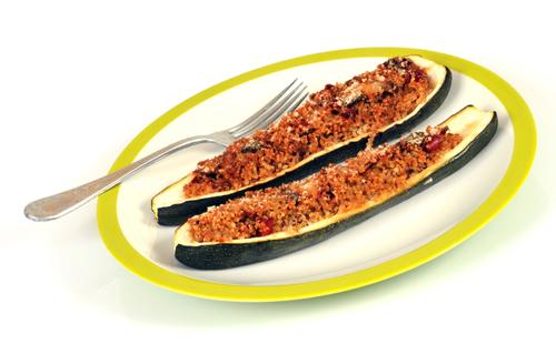 Courgettes farcies jambon-mozza