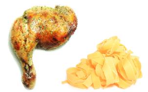 Cuisses de poulet au paprika en papillotes, tagliatelles