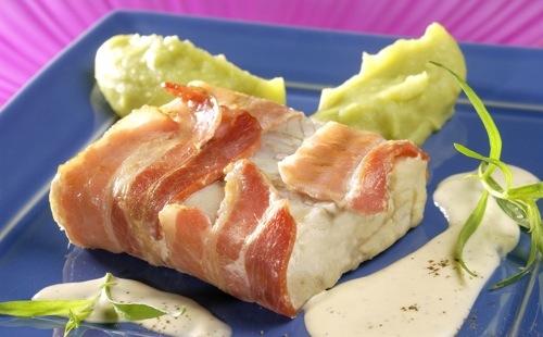 Cabillaud au bacon et purée de pois