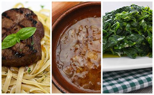 Bifteck à l'échalote, épinards et pâtes