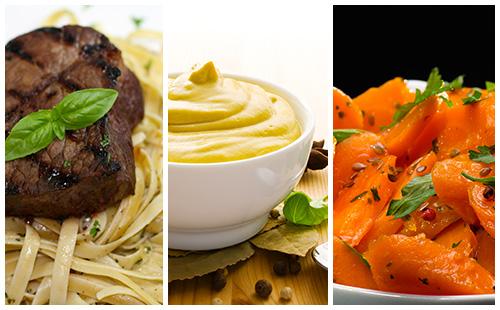 Bifteck aux carottes et pâtes, sauce moutarde