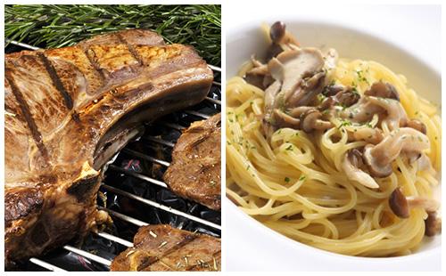 Côte de porc au romarin, pâtes et champignons poêlés
