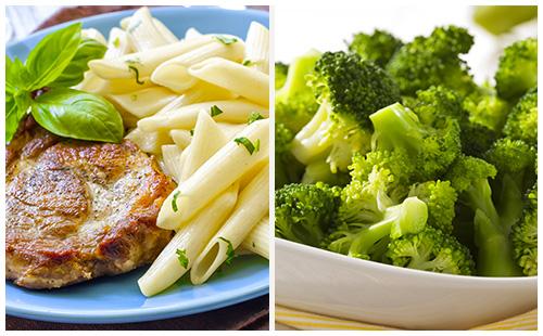 Côte de porc aux brocolis et pâtes
