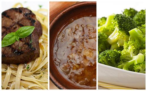 Bifteck aux échalotes, brocolis et pâtes