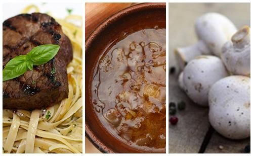 Bifteck sauce échalote, champignons et pâtes