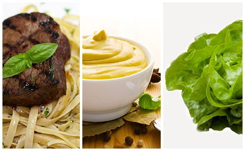Bifteck sauce moutarde, pâtes et salade verte
