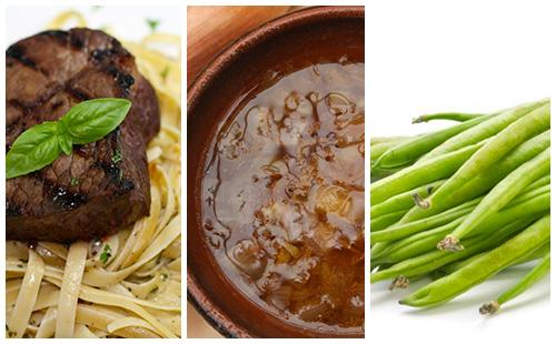 Bifteck, pâtes et haricots verts à l'échalote