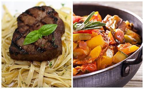 Bifteck, pâtes et ratatouille