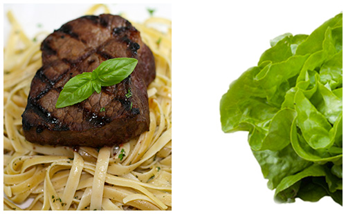 Bifteck, pâtes et salade verte