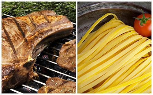 Côte de porc au romarin et pâtes