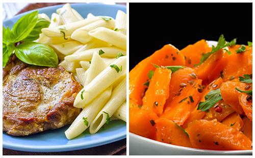 Côte de porc aux carottes et pâtes