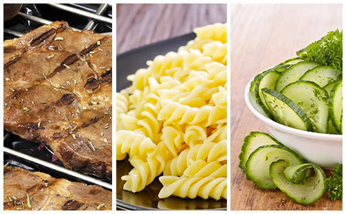 Côte de porc au romarin, pâtes et salade de concombre