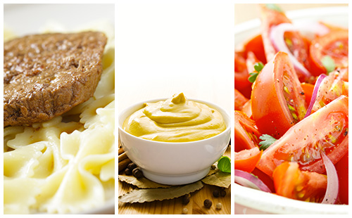 wecook steak hach sauce moutarde p tes et salade de tomates. Black Bedroom Furniture Sets. Home Design Ideas