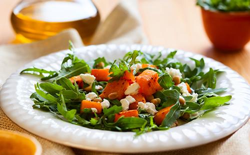 Salade de roquette, potimarron et feta