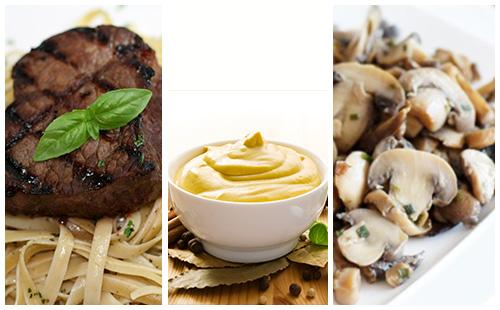 Bifteck aux champignons et pâtes, sauce moutarde