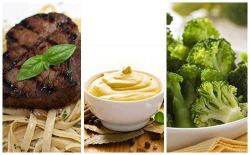 Bifteck sauce moutarde aux brocolis et pâtes