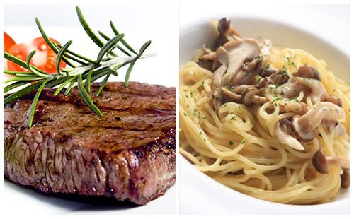 Bifteck, champignons et pâtes