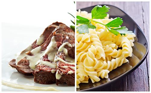 Bifteck, sauce moutarde et pâtes