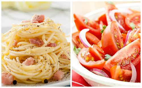 Pâtes au bacon et salade de tomates