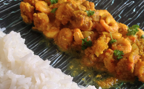 Crevettes Korma et riz basmati