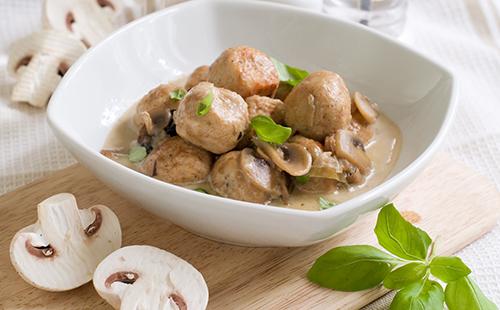 Boulettes de veau aux champignons à la crème