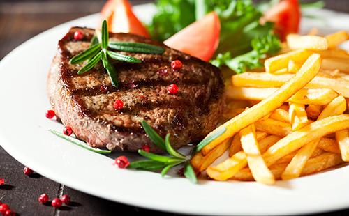 Bifteck et frites au four