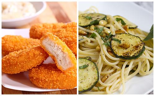 Nuggets de poulet maison, pâtes et courgettes