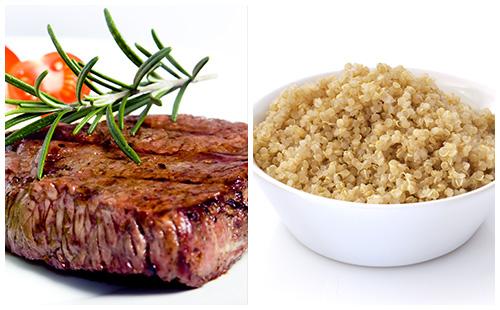 Bifteck et quinoa