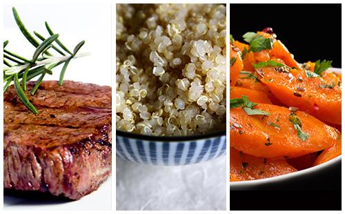 Bifteck aux carottes et quinoa