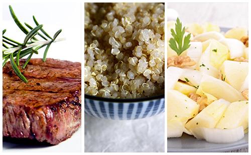 Bifteck, quinoa et salade d'endive