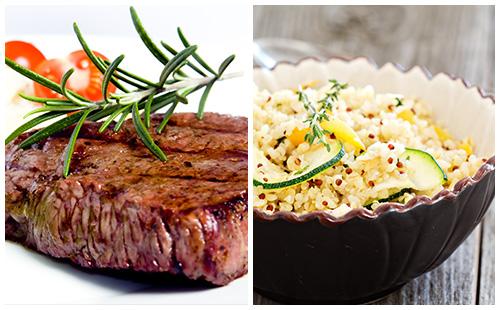 Bifteck aux courgettes et quinoa