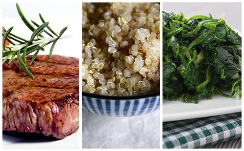 Bifteck aux épinards et quinoa