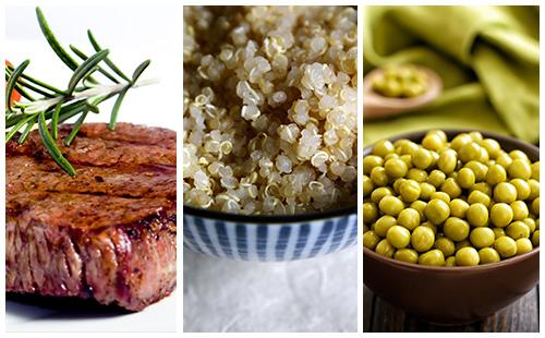 Bifteck aux petits pois et quinoa