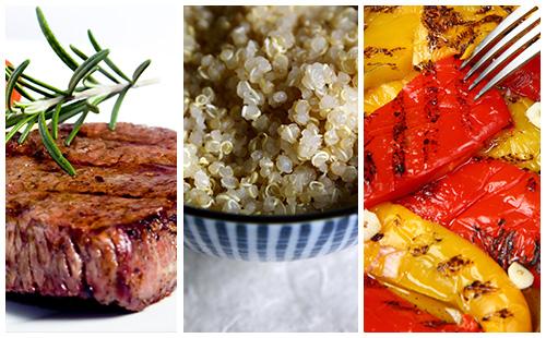 Bifteck et quinoa aux poivrons grillés