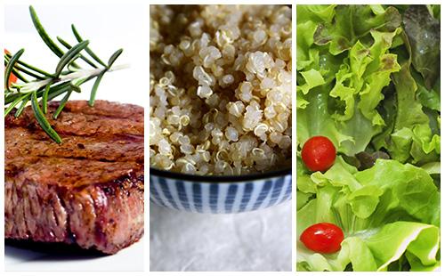 Bifteck, quinoa et salade verte