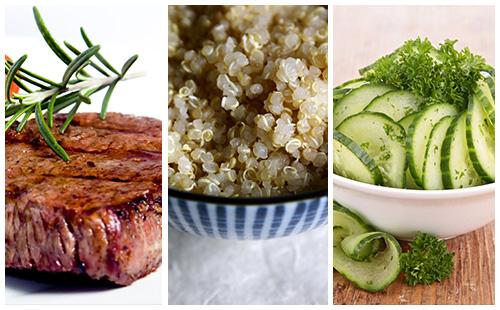 Bifteck, quinoa et salade de concombre