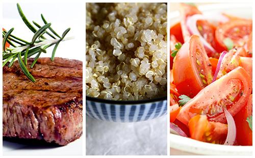 Bifteck, quinoa et salade de tomates