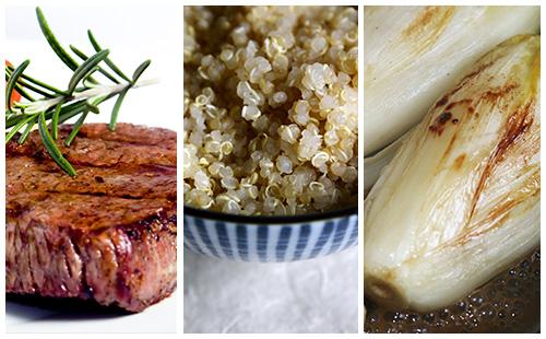 Bifteck et quinoa aux endives braisées