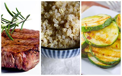 Bifteck et quinoa aux courgettes sautées