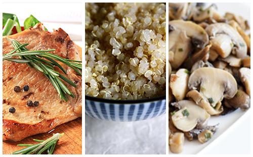 Côte de porc au romarin au quinoa et champignons poêlés