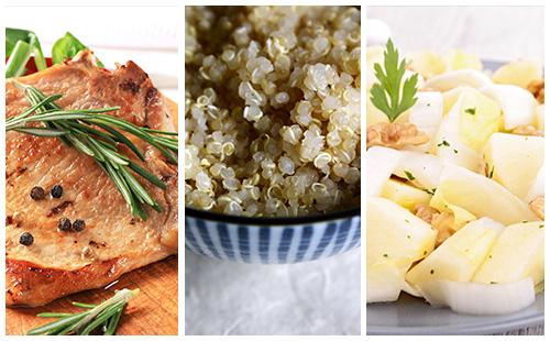 Côte de porc au romarin, quinoa et salade d'endives