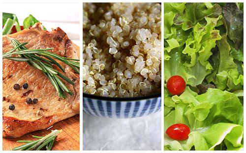Côte de porc au romarin, quinoa et salade verte
